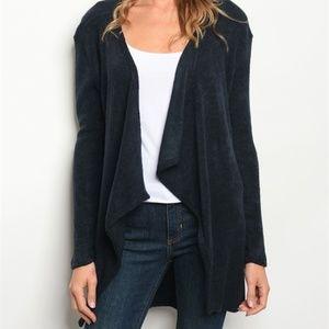 Navy blue open cardigan sweater